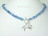 Personalised Royal Blue Baroque Pearl Necklace with T-bar Clasp