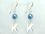 Personalised Royal Blue Baroque Pearl Earrings with One Pearl