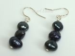 Black Baroque Pearl Earrings with Three Pearls