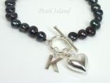 Personalised Black Baroque Pearl Bracelet with T-bar Clasp