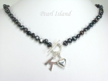 Personalised Black Baroque Pearl Necklace with T-bar Clasp