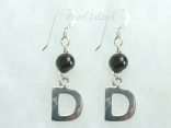 Personalised Black Baroque Pearl Earrings with One Pearl