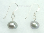Silver Grey Baroque Pearl Earrings