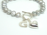 Personalised Silver Grey Baroque Pearl Bracelet with T-bar Clasp