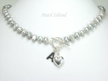 Personalised Silver Grey Baroque Pearl Necklace with T-bar Clasp