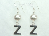 Personalised Silver Grey Baroque Pearl Earrings with One Pearl