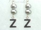 Personalised Silver Grey Baroque Pearl Earrings
