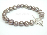 Personalised Grey Baroque Pearl Bracelet with T-bar Clasp