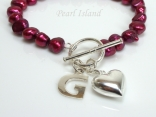 Personalised Red Baroque Pearl Bracelet with T-bar Clasp