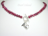 Personalised Red Baroque Pearl Necklace with T-bar Clasp