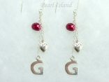 Personalised Red Baroque Pearl Earrings with Angle Earwire
