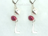 Personalised Red Baroque Pearl Earrings with Lever Back Style 1