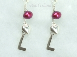 Personalised Red Baroque Pearl Earrings with Lever Back Style 2