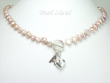 Personalised Lavender Baroque Pearl Necklace with T-bar Clasp