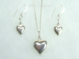 Sterling Silver Puffed Heart Pendant & Earring Set