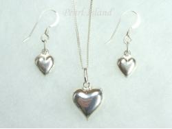 Sterling Silver Puffed Heart Pendant & Earring Set