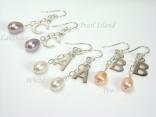 Sterling Silver Initial Freshwater Pearl Earrings