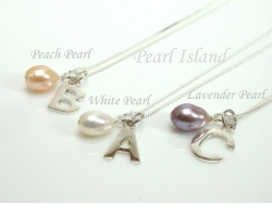 Sterling Silver Initial Freshwater Pearl Pendant Necklace