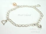 Sterling Silver Initial Freshwater Pearl Charm Bracelet