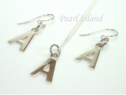 Sterling Silver Initial A Earring and Pendant Set