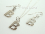 Sterling Silver Initial B Earring and Pendant Set