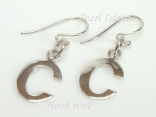 Sterling Silver Initial C Earrings