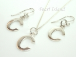 Sterling Silver Initial C Earring and Pendant Set