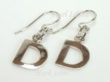 Sterling Silver Initial D Earrings
