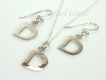 Sterling Silver Initial D Earring and Pendant Set