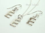 Sterling Silver Initial E Earring and Pendant Set