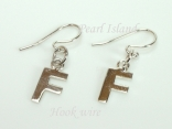 Sterling Silver Initial F Earrings