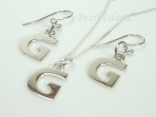 Sterling Silver Initial G Earring and Pendant Set