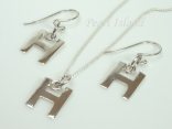 Sterling Silver Initial H Earring and Pendant Set