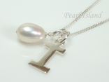 Sterling Silver Initial I Pendant Necklace