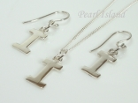 Sterling Silver Initial I Earring and Pendant Set