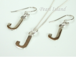 Sterling Silver Initial J Earring and Pendant Set