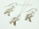 Sterling Silver Initial Pendant & Earrings Set