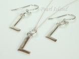 Sterling Silver Initial L Earring and Pendant Set