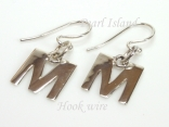 Sterling Silver Initial M Earrings