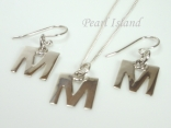Sterling Silver Initial M Earring and Pendant Set