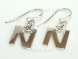 Sterling Silver Initial N Earrings
