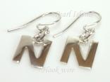 Sterling Silver Initial N Earrings