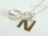 Sterling Silver Initial N Pendant Necklace