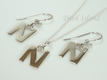 Sterling Silver Initial N Earring and Pendant Set