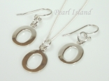 Sterling Silver Initial O Earring and Pendant Set