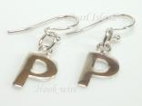 Sterling Silver Initial P Earrings