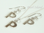Sterling Silver Initial P Earring and Pendant Set