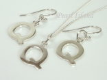 Sterling Silver Initial Q Earring and Pendant Set