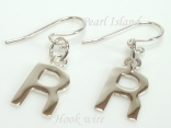 Sterling Silver Initial R Earrings