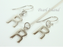 Sterling Silver Initial R Earring and Pendant Set